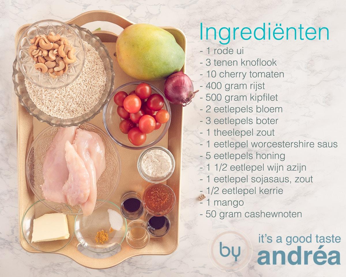 Ingredienten voor honing kip met rijst