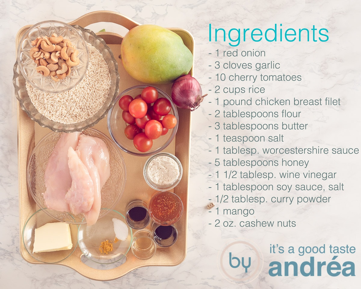 Ingredients for honey chicken with rice