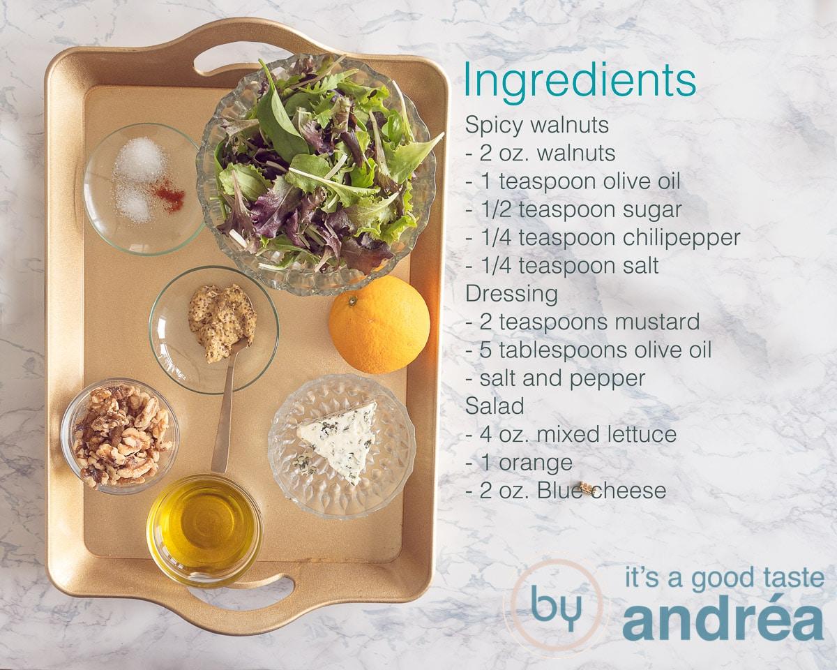 Ingredients spicy blue cheese salad