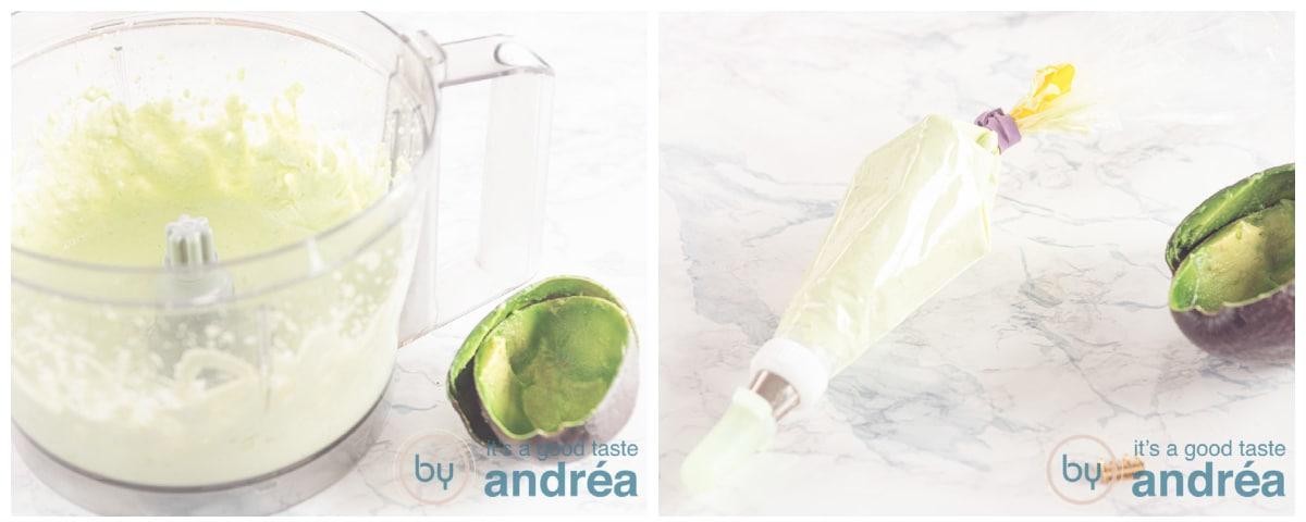 Uitgeholde avocado met Creme in een spuitzak