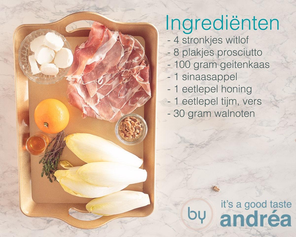 Ingredienten nodig voor de witlof ham kaas ovenschotel