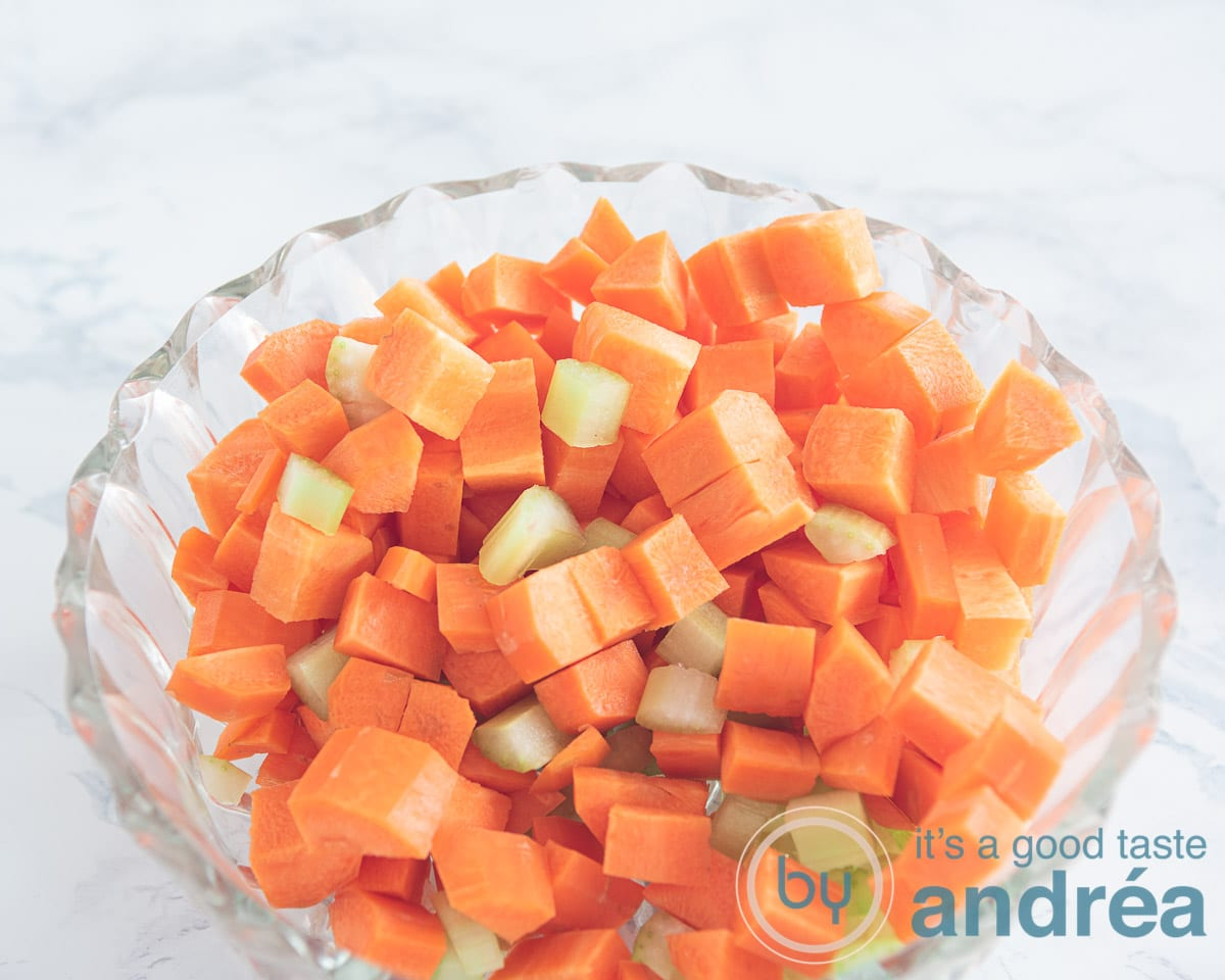 cubes of carrot and celery