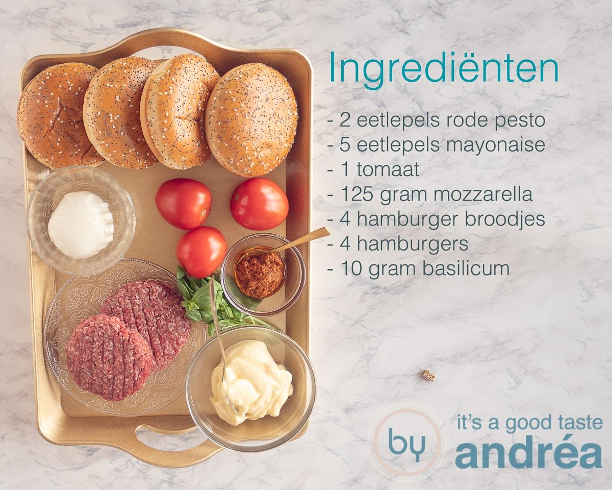 Ingrediënten voor een Italiaanse burger