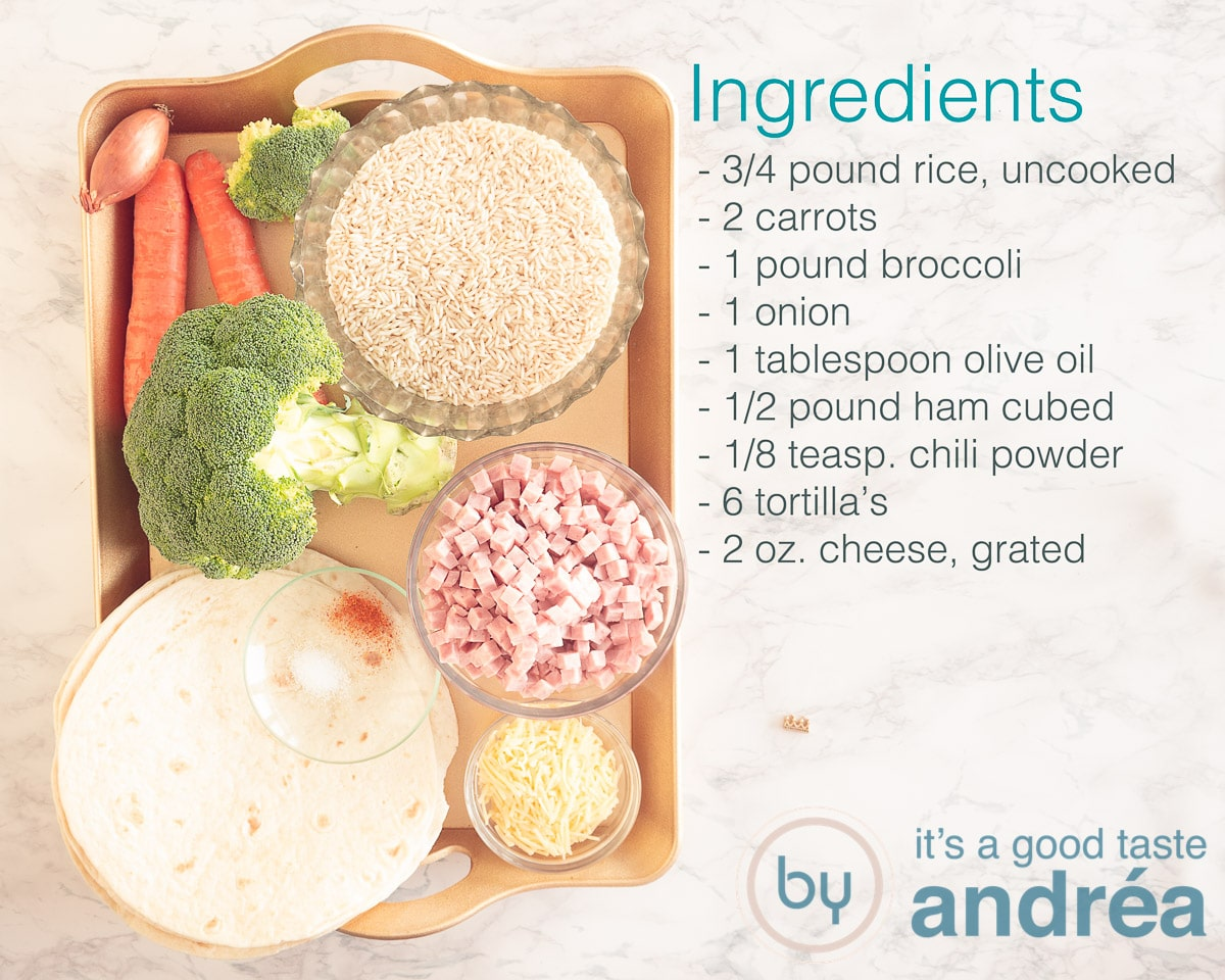 Ingredients rice with carrot and ham wraps