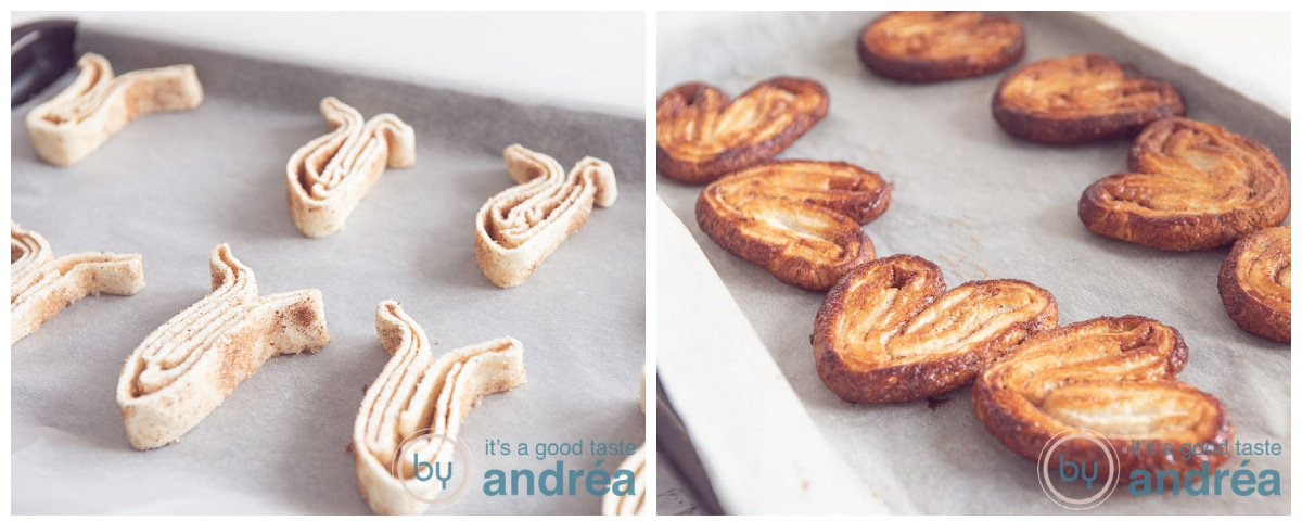 Unbaked and baked palmiers on a baking plate