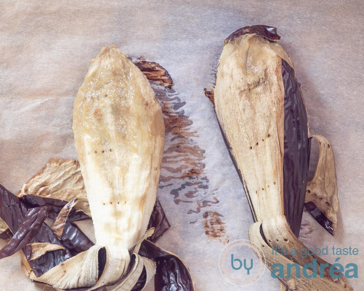 Roasted eggplants, skin is removed