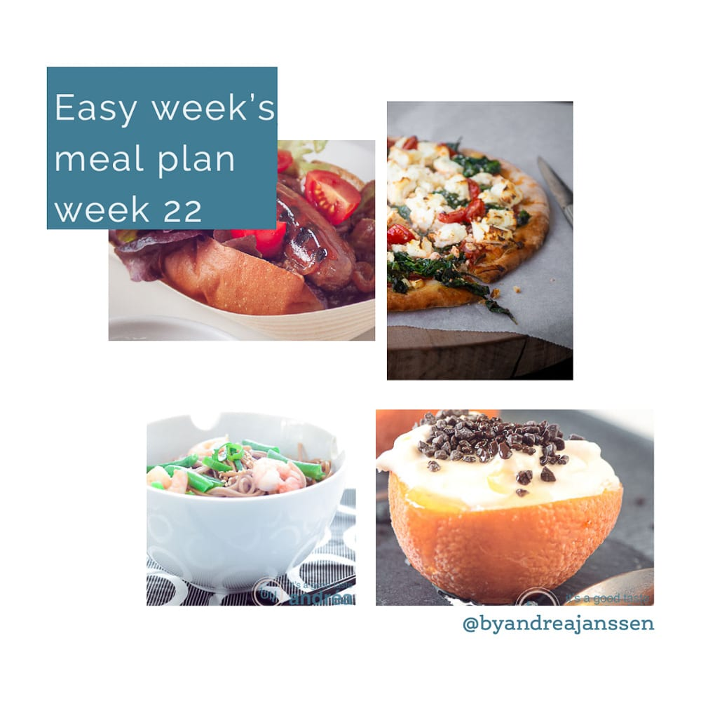 four recipes that are in the easy week menu week 22 wurst, pizza, noodles and orange semifreddo