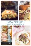 four photos with recipes from the weekly meal plan