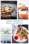 Four pictures with recipes from the weekmenu: pizza, noodles, drumsticks and orange semifreddo.