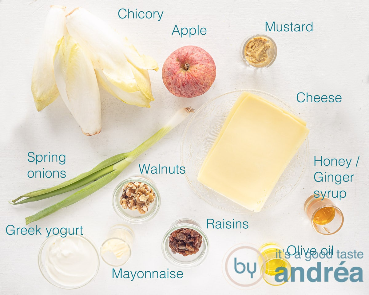 Ingredients chicory and apple salad