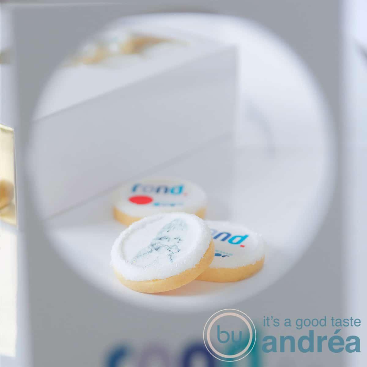 Koekjes met een foto van ROND. producten door een marketing tool geschoten