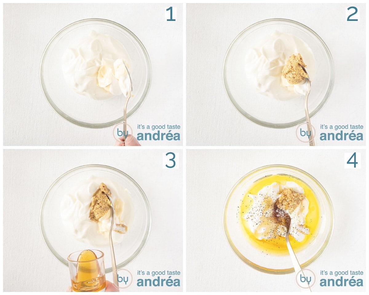 Prepare the yogurt honey mustard dressing in four steps