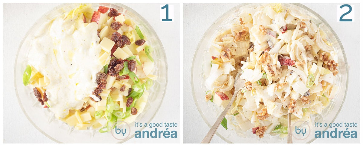 Add the dressing and walnuts (2 photos) to the salad