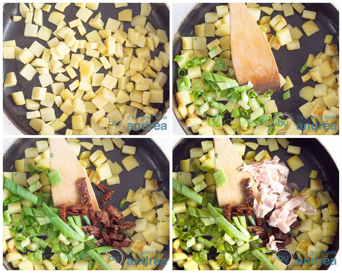 Prepare the filling in four steps. Fry the potatoes, add the onions, tomatoes and bacon