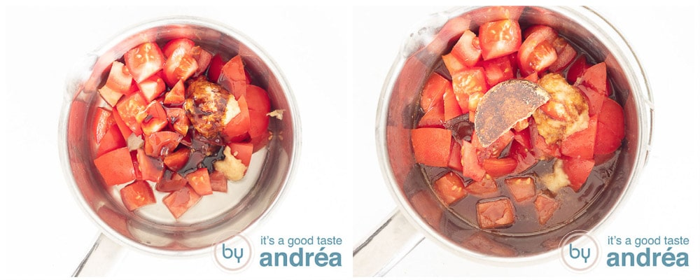 Preparing sweet and sour tomato sauce