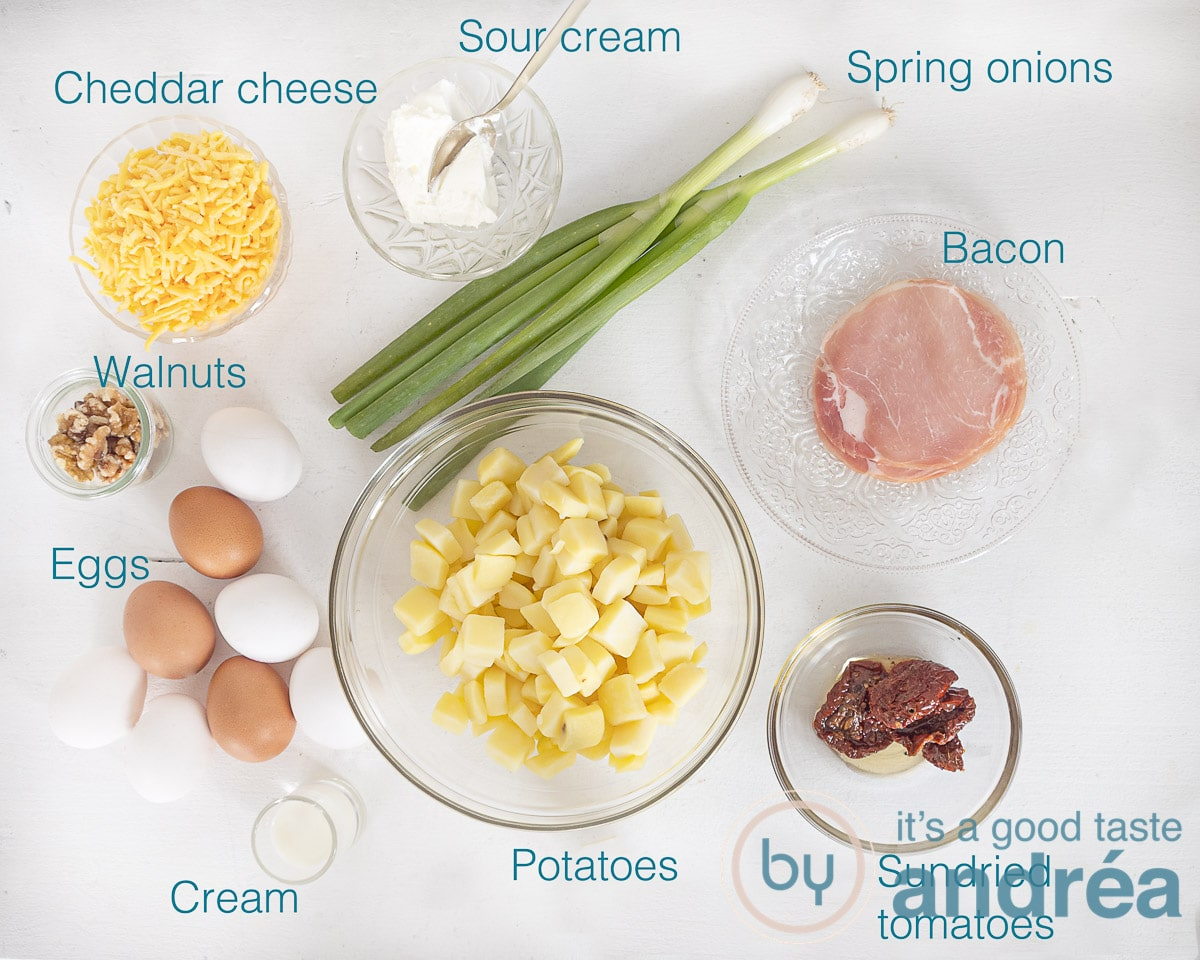Ingredients for a Spanish omelet with bacon
