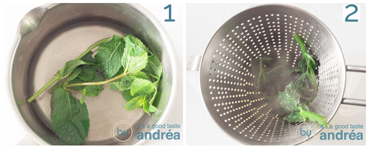 two photos boiling mint in sugar water and sieve it afterwards