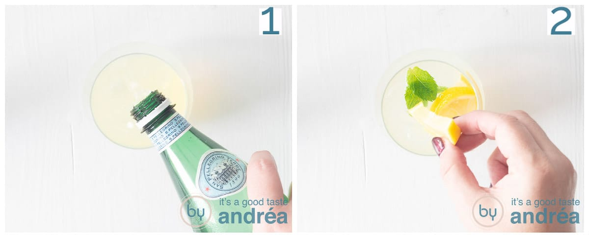 Two photos adding sparkling water and lemon to the glass