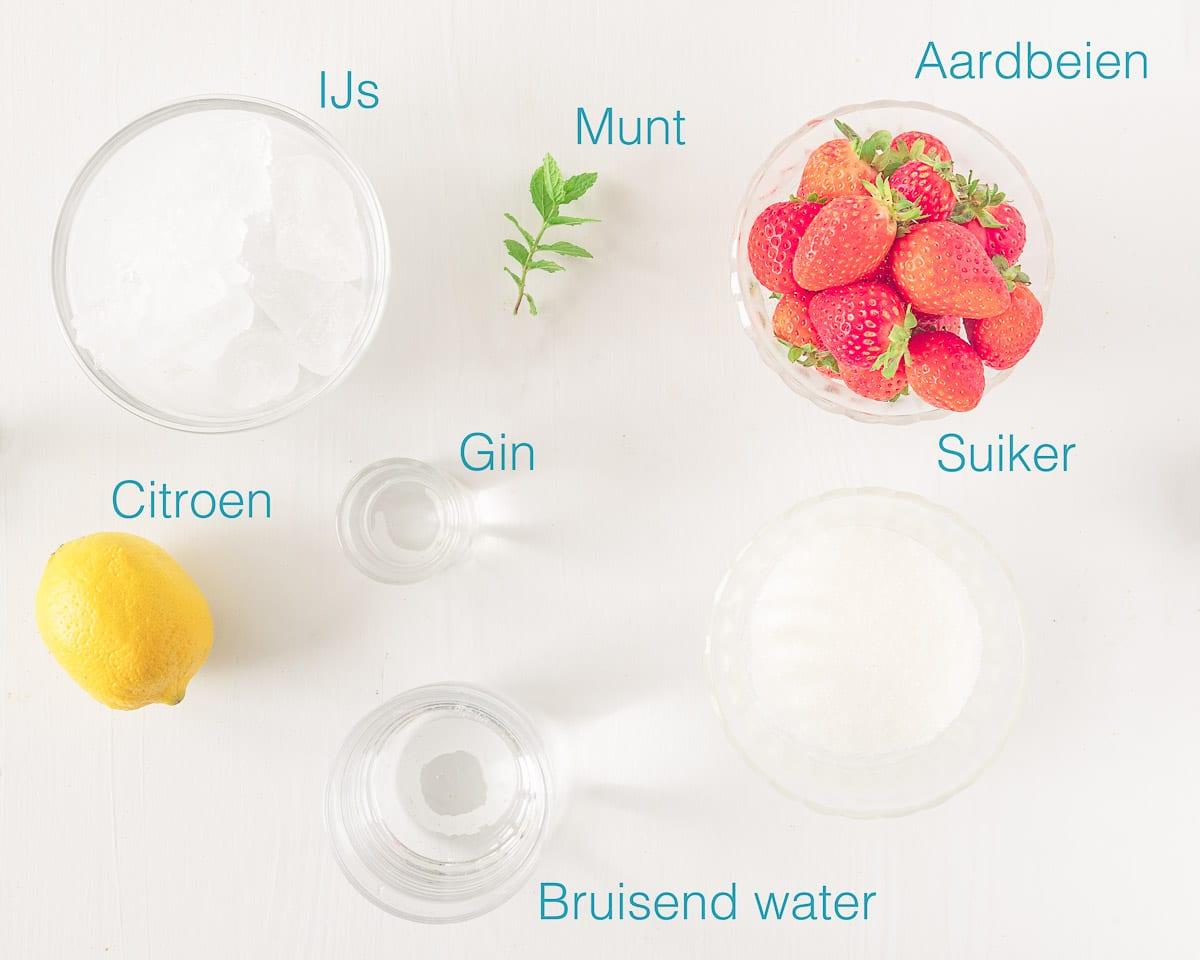 ingredienten Strawberry Gin Cocktail