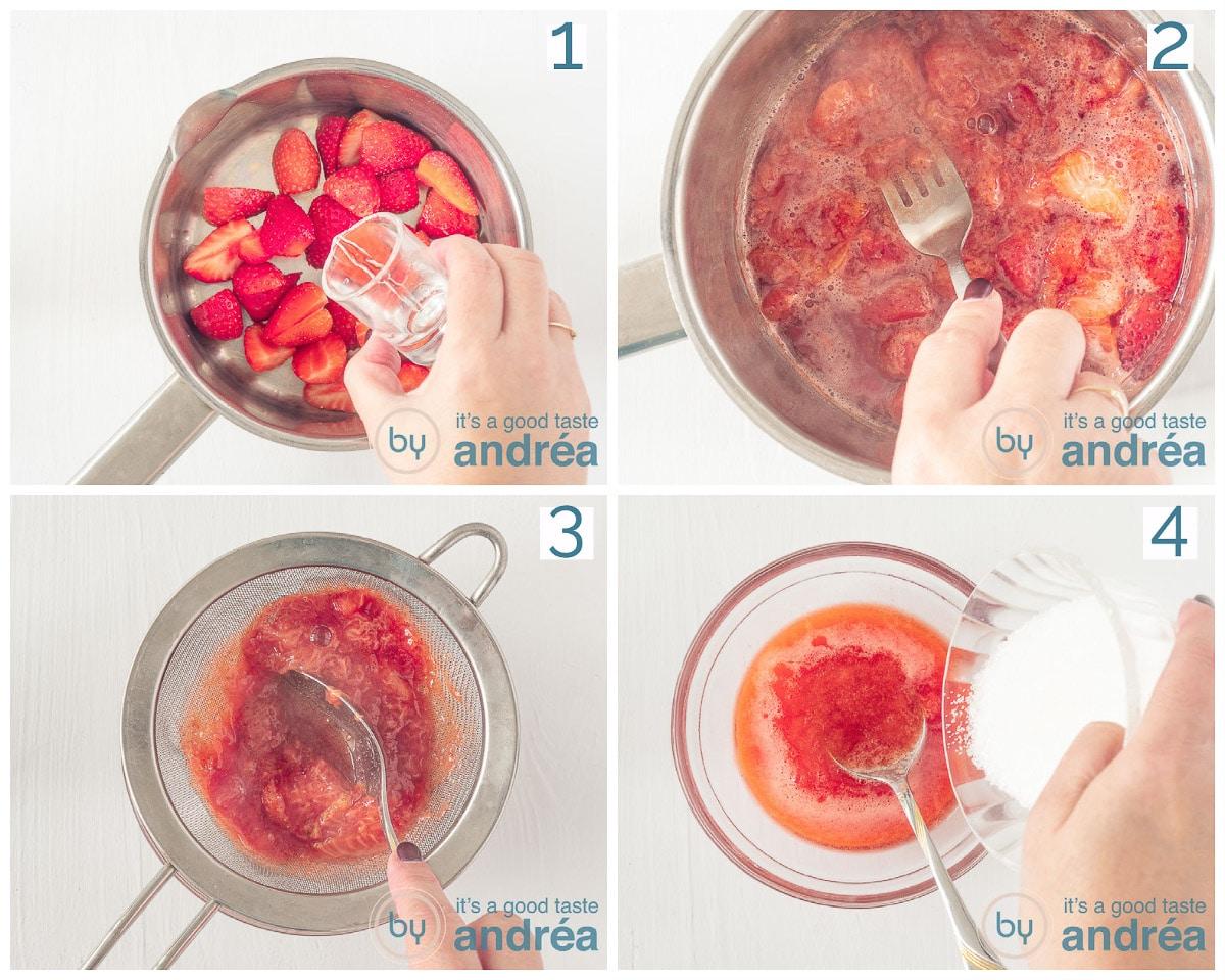 Doe water bij de aardbeien, kook en prak fijn. Zeef en voeg suiker toe