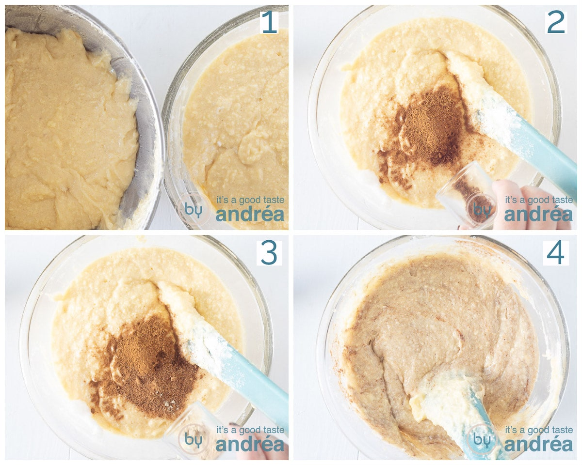 Two bowls of batter to one bowl are added spices and mixed