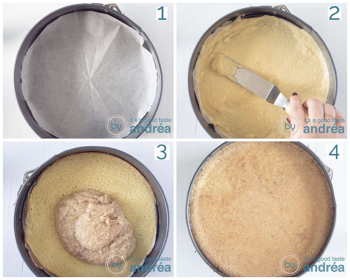 four times a springform that is slowly filled with batter